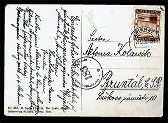 Anežka Antonie Witková - Vánoční pohlednice zaslaná sestrám z Vídně - zadní.